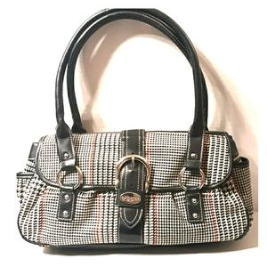 EUC☆CHAPS Large Plaid Design Flap Style Satchel